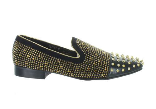 Fiesso Black Gold Studded Spike Slip-on Loafer