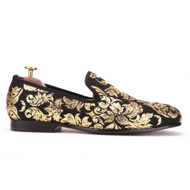 Travis Alexander Black Gold Paisley Velvet Loafer Shoes