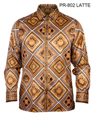 PRESTIGE VERSACE INSPIRED PATTERNED LATTE SHIRT. LATTE, BLACK AND ANTIQUE GOLD SHIRT WITH VERSACE, MEDUSA HEAD INSPIRED PATTERN