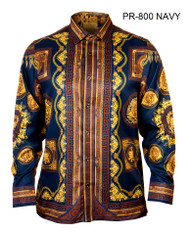 PRESTIGE NAVY PATTERNED BUTTON DOWN SHIRT. NAVY WITH BLACK AND ANTIQUE GOLD DESIGN DETAILS WITH MEDUSA HEAD AND CROWN PATTERN.