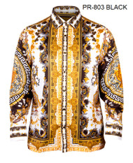 PRESTIGE BLACK AND WHITE PATTERNED SHIRT. WHITE WITH BLACK AND GOLD DETAILS DESIGNS.