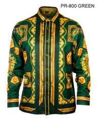 PRESTIGE GREEN PATTERNED BUTTON DOWN SHIRT. GREEN AND ANTIQUE GOLD DESIGN DETAILS WITH MEDUSA HEAD AND CROWN PATTERN.