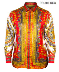 PRESTIGE RED BUTTON DOWN SHIRT. RED WITH GOLD DETAILS AND MEDUSA HEAD DESIGN ON SLEEVES AND BACK.