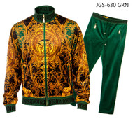 PRESTIGE GREEN VERSACE INSPIRED TRACKSUIT. GREEN, ANTIQUE GOLD AND BLACK TRACKSUIT WITH MEDUSA HEAD DESIGN.