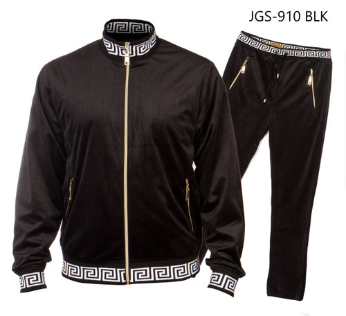 PRESTIGE BLACK GREEK KEY TRACKSUIT. BLACK TRACK SUIT WITH GREEK KEY  DESGIN ON SLEEVES AND COLLAR.