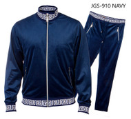 PRESTIGE NAVY GREEK KEY TRACKSUIT. NAVY TRACK SUIT WITH GREEK KEY DESIGN ON ENDS.