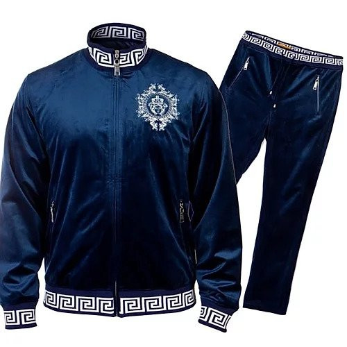 PRESTIGE NAVY MEDUSA HEAD TRACK SUIT. NAVY TRACKSUIT WITH MEDUSA HEAD DESIGN ON CHEST AND BACK.