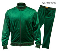 PRESTIGE GREEN GREEK KEY TRACKSUIT. GREEN TRACKSUIT WITH BLACK GREEK KEY DESIGN ON ENDS.