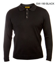 PRESTIGE BLACK THREE BUTTON SWEATER.