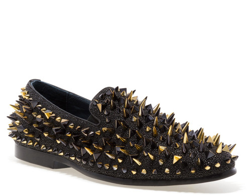 Lord Black Gold Spike Slip-on Loafer (LORD-BLACK)