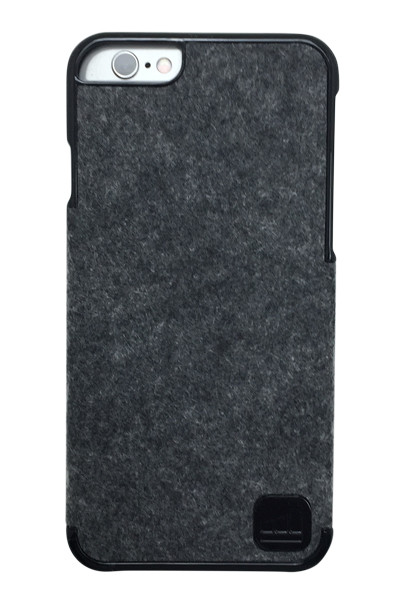 LuxBox Case Classic Black for iPhone 6 & iPhone 6S • Real 100% Dark Grey Heathered Wool and Black Lacquer