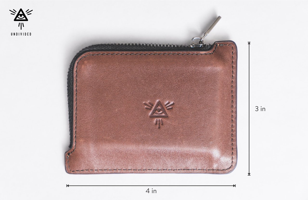 Undivided Wallet  - Dimensions  Not too wide or too narrow - it's perfectly proportioned to easily fit into your pocket but also not fall right out of your pocket