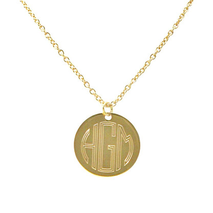 Gold Plated Engraved Necklace Circle Monogram