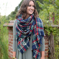 Navy plaid blanket scarf Times Square Monogram
