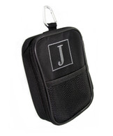 Black Zip Pouch Golf/Tech Accessory Bag  Classic Single Initial Square Round