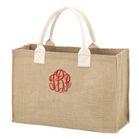 Burlap Tote Bag Master Circle Monogram
