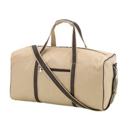 Tan with Leather -Like Trim  Brown Thread on MOnogram as shown on small Toiletry Bag below