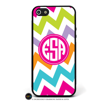 iPhone 5 Case Pattern: Chevron Multi Frame: Solid Circle Frame Color: Hot Pink Font: Harolds Font Color: White