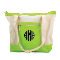 Color Block Monogrammed Zip Top Tote - Features Exterior Zip Pocket -3 pretty colors