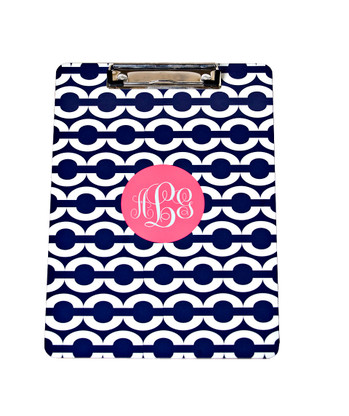 Clipboard Design Example Pattern: Chain Color: Navy Accent: Solid Circle Accent Color: Pink Font: Monogram Font Color: White