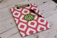 Clipboard Design Example Pattern: Ikat Color: Pink Accent: Solid Circle Accent Color: Apple Font: Monogram Font Color: White