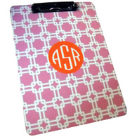 Clipboard Design Example  Pattern: Link Color: Light Pink Accent: Solid Circle Accent Color: Orange Font: Monogram Font Color: White