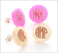 Acrylic Monogram Round Stud Etched Earrings