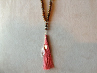 Coral Tassel with White Elongated Druzy Stone and Gold Accessory
