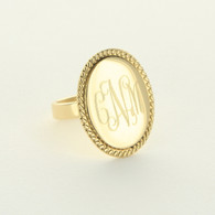 Gold-Tone Oval Braided Ring