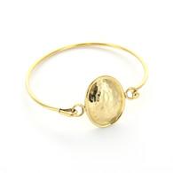 Hammered Oval Gold-Tone Bangle