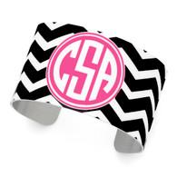 Black Chevron Pattern, Pink Background, Circle Monogram