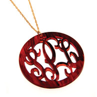 Acrylic Round Rimmed Monogram  Necklace