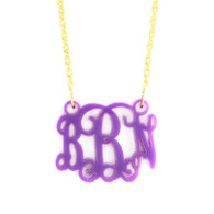 Acrylic Floating Monogram Necklace - Available in 21 beautiful acrylic colors