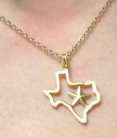 Gold-filled state of Texas necklace with Star