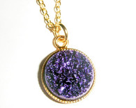 "NEW! Druzy Dreamcatchers Necklace with 16"" Gold Filled Chain with 3"" extensions - 7  Gorgeous Druzy Colors"