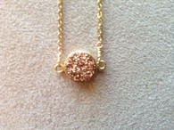"""NEW! Druzy Metallic Stone Drop Necklace - 16"""" Gold-filled chain with Adjustable 3"""" Extension-8 Gorgeous Druzy Stones"""
