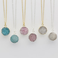 Aqua, Rose, White Druzy Stone Necklaces Gold plated or Silver plated