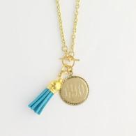 Monogrammed Charm Round Charm Necklace Marine Blue Tassel