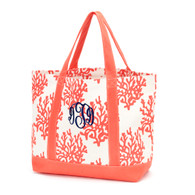 Coral Canvas Tote Bag Navy Thread with Master Circle Monogram