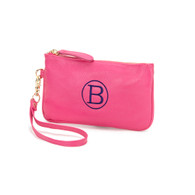Hot Pink Monogrammed Wristlet Monogram Shown is Single Classic Navy Thread