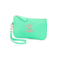 Mint Monogrammed Wristlet with Classic Font/  Thread color: Coral