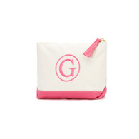 Hot Pink cosmetic Bag Single Classic Monogram Font Hot Pink Thread