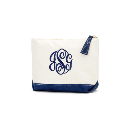 Navy Cosmetic Bag Master Circle Monogram Font Navy Thread