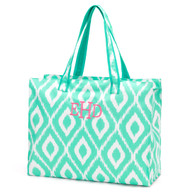 Mint Ikat Beach Bag Classic Monogram Hot Pink Thread