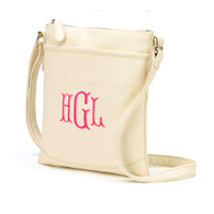 Crème Crossbody Purse Cotillion Mongram Font Hot PInk Thread