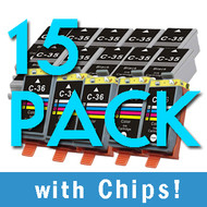 15 Pack PGI-35 / CLI-36 (Black & Color) w/ Chip