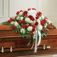Red & White Mixed Half Casket Cover