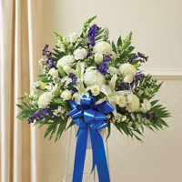 Blue & White Sympathy Standing Half Spray