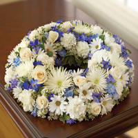 Blue & White Cremation Wreath