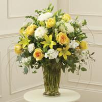 Yellow & White Large Sympathy Vase Arrangement